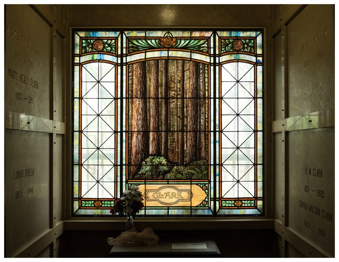 Clark Crypt in the Portland Mausoleum, stained glass window of forest scene