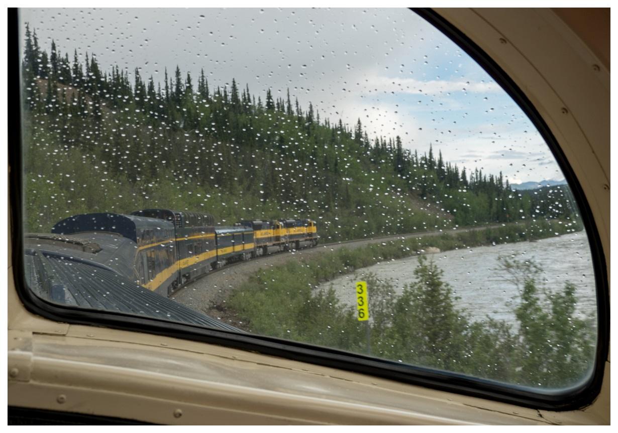 alaska railroad train rain